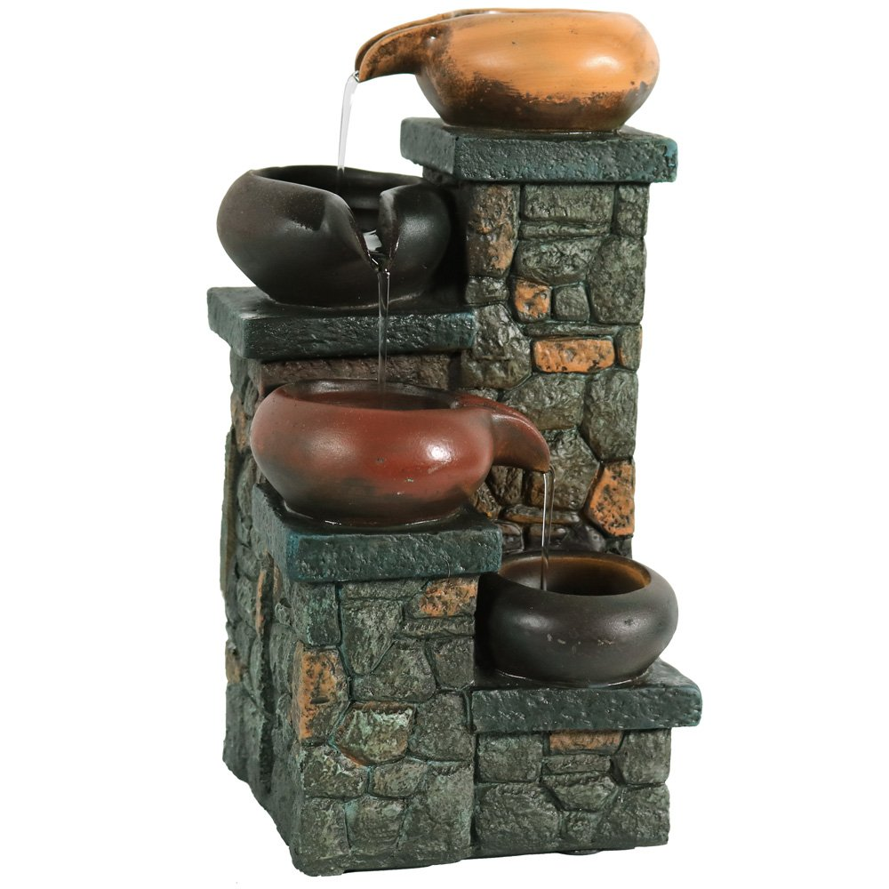Sunnydaze Tiered Pitchers on Brick Steps Tabletop Water Fountain with LED Light, 10 Inch
