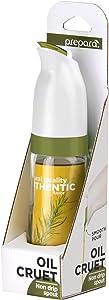 Prepara Non-drip Oil Cruet, Glass Base, 2.5 x 2.5 x 6.3 inches, White/Olive Green