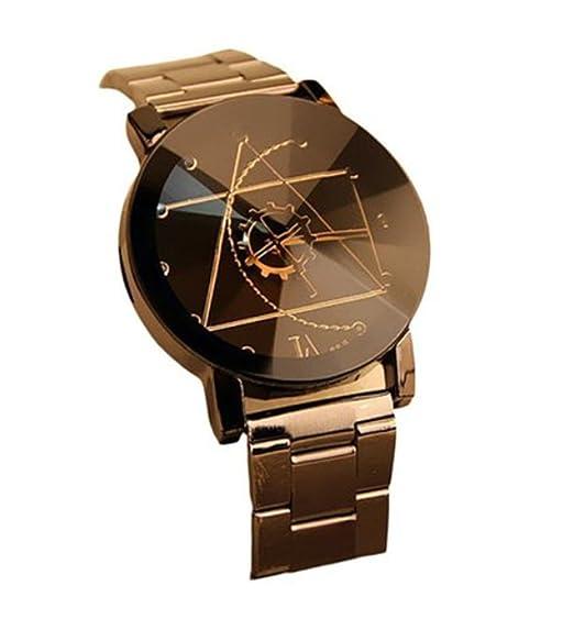 Fanessy Hombres Mujeres Relojes de cuarzo analógico estilo de moda reloj de acero inoxidable forma de compás de anuncios: Amazon.es: Relojes
