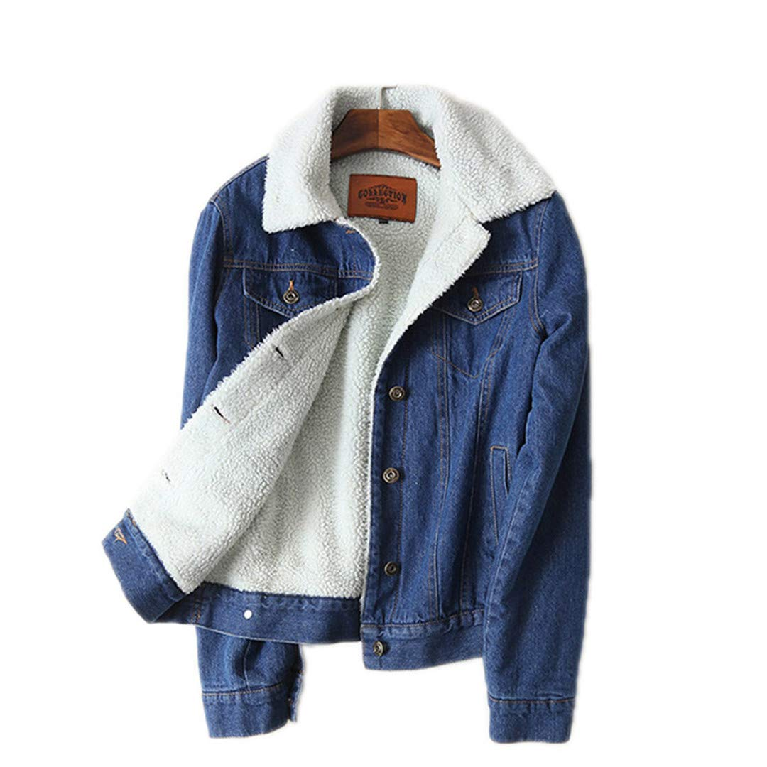 JACKSWERES Spring, Autumn and Winter New Women's Lamb Wool Denim Jacket with