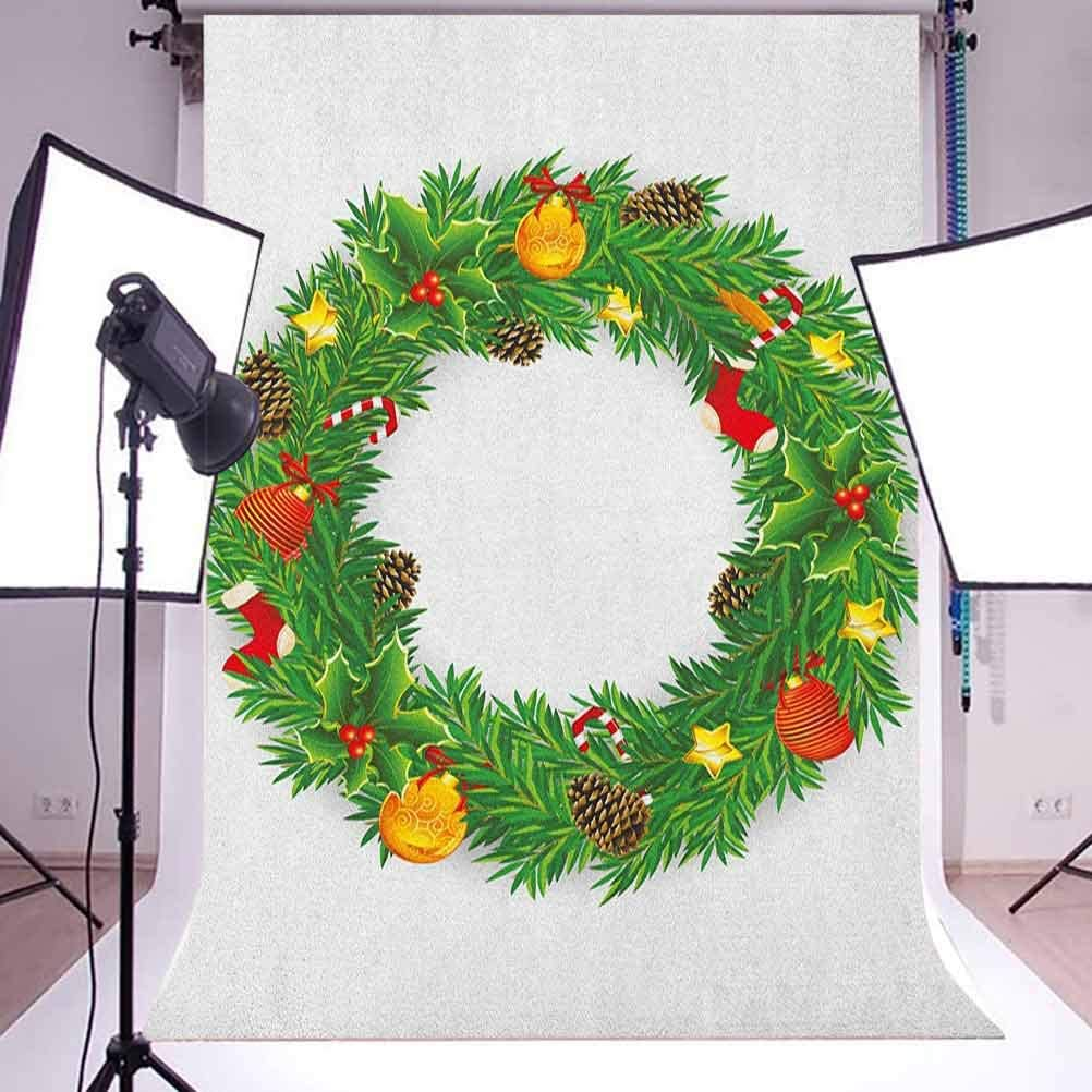 9x16 FT Vinyl Photography Backdrop,Illustration of Dressed Christmas Wreath with Festival Objects Cute Vivid Design Background for Graduation Prom Dance Decor Photo Booth Studio Prop Banner