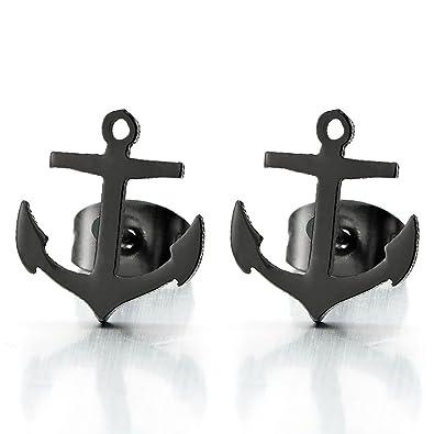 0c1316f6e752 Paar Schwarz Anker Ohrstecker, Unisex Ohrringe für Herren und Damen  Edelstahl Gestüt Ohrringe, Ohrschmuck