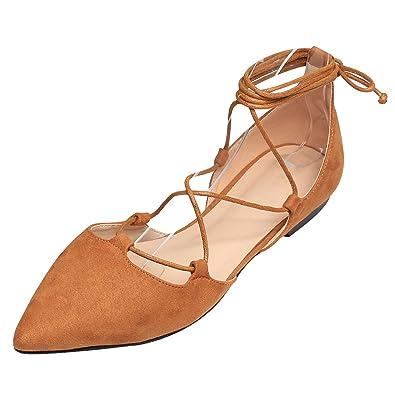 84b0f4279ca4d Jamron Femmes Douce Suède Synthétique Plat Bout Pointu l escarpin Fantaisie  Franchie Lacer Ballerines Chaussures