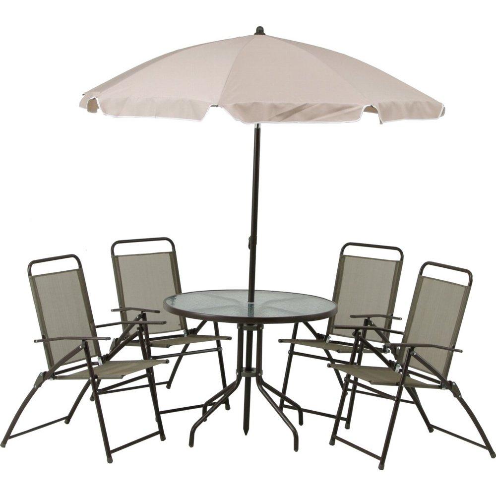 ガーデン 6点 セット チェア4脚 テーブル パラソル B00L1YRQPG