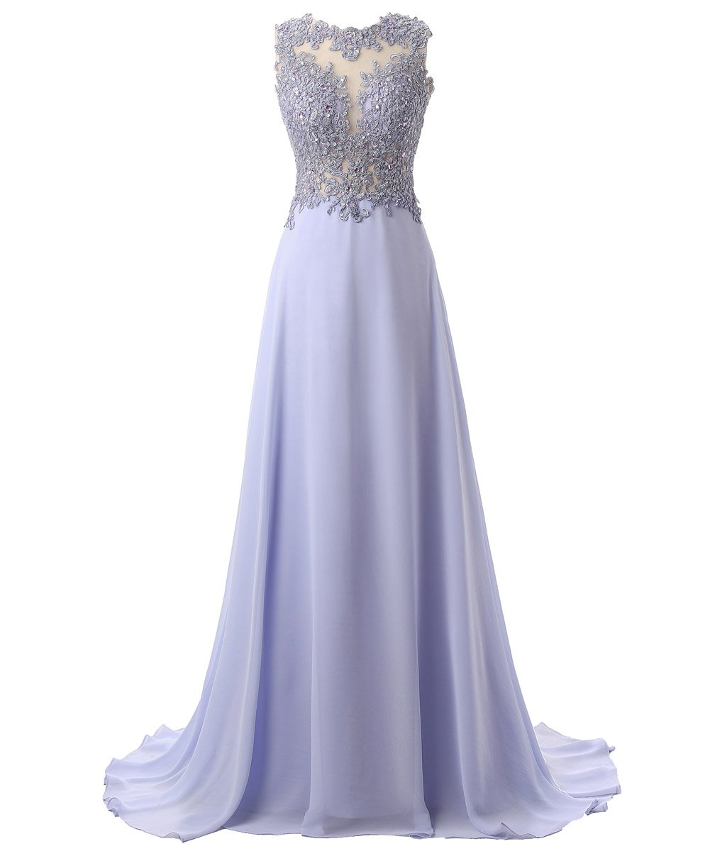 Callmelady Lace Appliqued Prom Dresses Long Evening Gowns For Women Formal (Lavender, US2) by Callmelady