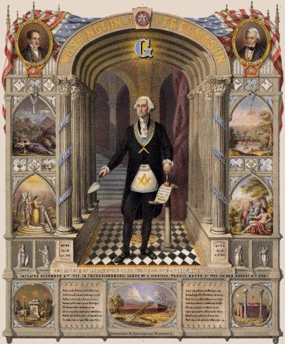 Masonic MASON President GEORGE WASHINGTON AS FREEMASON - GIFT POSTER Lithograph Reproduction from 1867