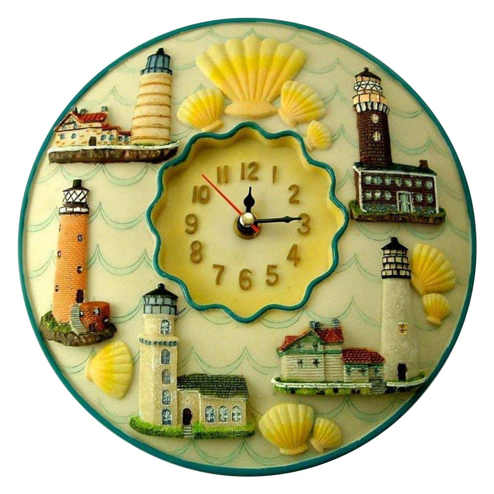 """Lighthouses Clock, 8"""" Round, 3D Polystone - Lighthouses Wall Decor For Kitchen, Nursery, Bedroom, Patio, Bathroom, Office Lighthouses Decoration - Best Lighthouses Gift Idea, Lighthouses Decoration, Home Decor."""
