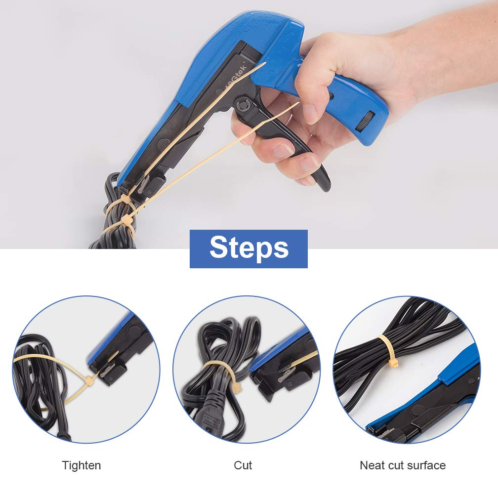 Fastening and Cutting Tool with Steel Handle Special for Nylon Cable Tie Fasten and Cut Cables in Blue Cable Tie Gun