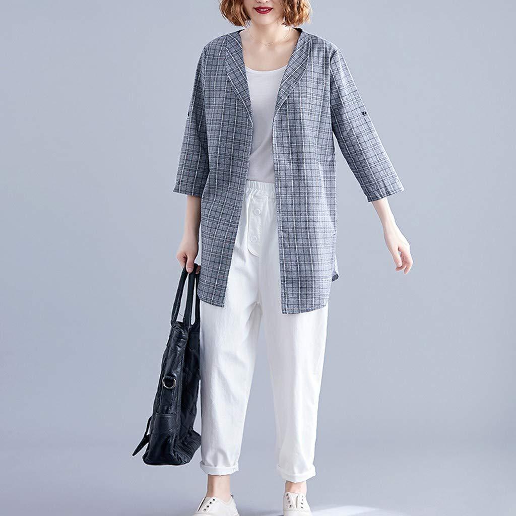 Goddessvan 2019 Women Long Sleeve Plaid Blazer Elegant ...