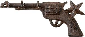 Treasure Gurus Western Gun Wall Hook TX Star Keychain Holder Pistol Car Truck Keyring Rack Hanger