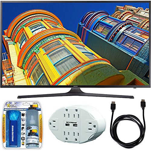 Samsung UN55KU6290 - 55' Class 6-Series 4K Ultra HD Smart LED TV w/ Accessory Bundle includes TV, Screen Cleaning Kit, 6 Outlet Wall Tap w/ 2 USB Ports and HDMI to HDMI Cable 6'