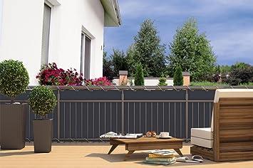 CV Balkon-Sichtschutz Balkon-Verkleidung Balkonumspannung Balkon-Windschutz  Anthrazit grau 24 m Kordel Maße: 600 x 90 cm Polyester