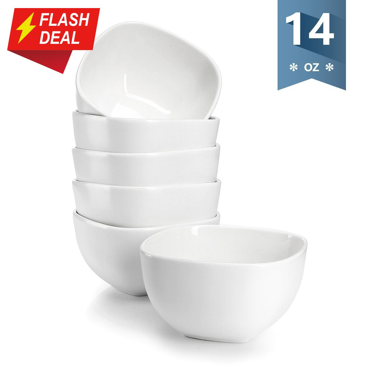 Sweese 1303 Porcelain Square Bowl Set - 14 Ounce Deep and Microwavable for Cereal, Soup and Fruit - Set of 6, Matte White