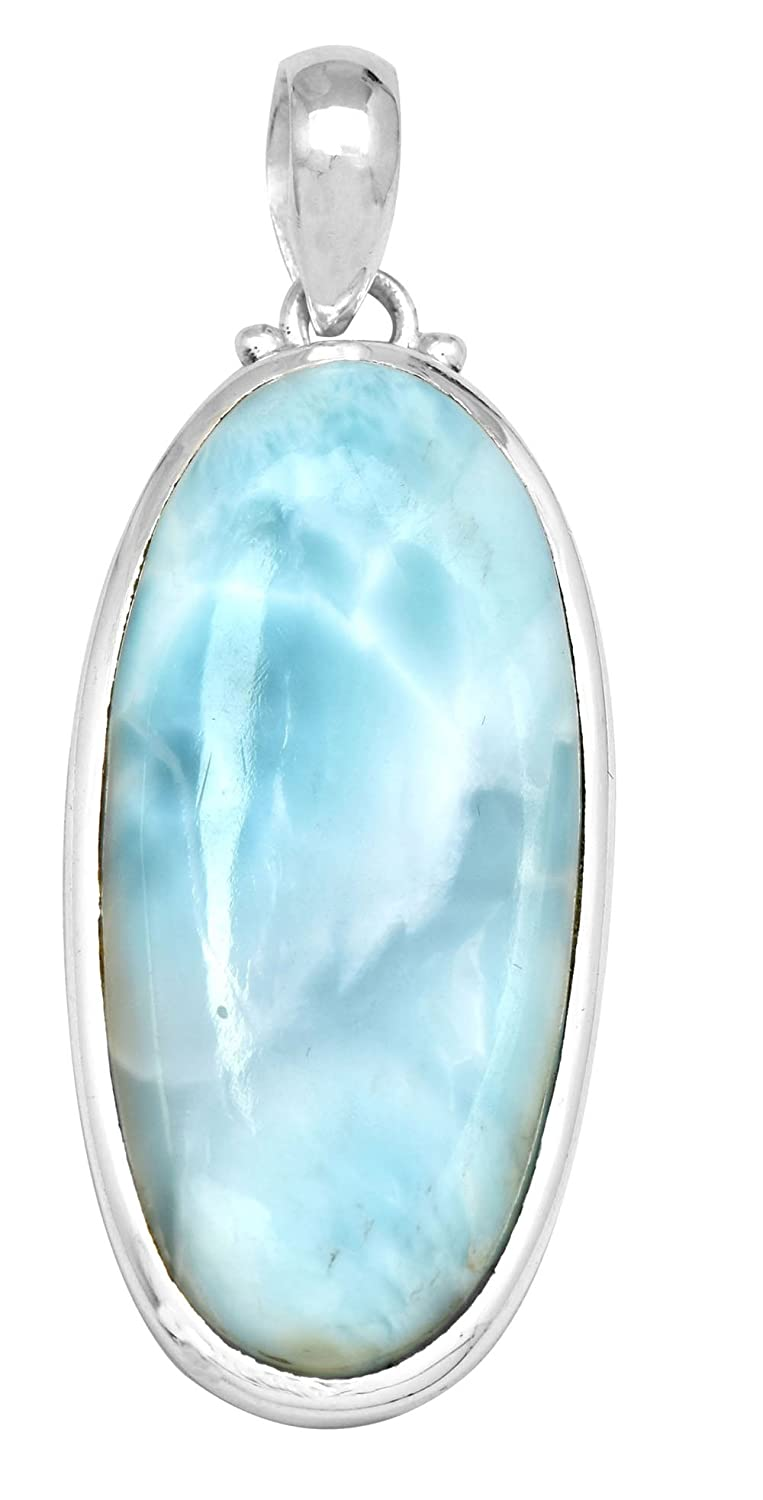 YoTreasure Natural Larimar/ 2 Long/925 Solid Sterling Silver/Pendant/With 18 Chain/Necklace Silver Jewelry