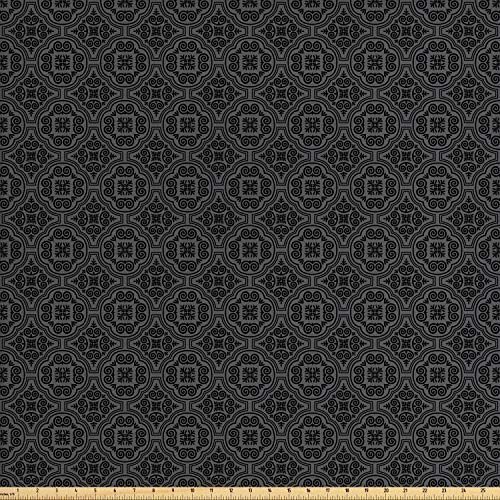 (Ambesonne Dark Grey Fabric by The Yard, Baroque Venetian Flower Motifs Medieval Ornate Mosaic Gothic Design Elements, Decorative Fabric for Upholstery and Home Accents, 2 Yards, Black Grey)