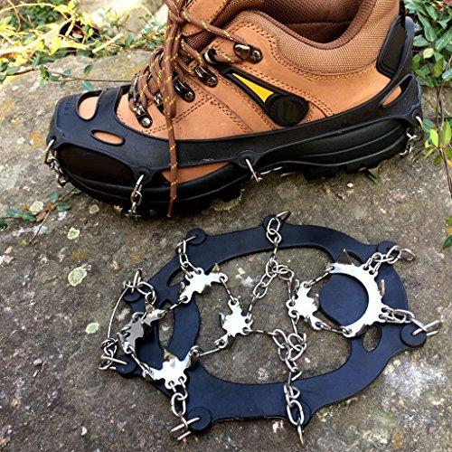 MagiDeal 1par Crampones Pinchos con 18 Dientes Cadena de Acero para Zapatos de Barro Hielo Negro