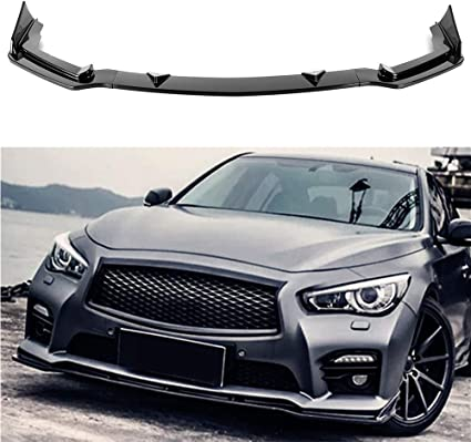 Carbon Fiber MotorFansClub 3pcs Front Bumper Lip for Infiniti Q50 2014-2017 Base Model Splitter Trim Protection Spoiler