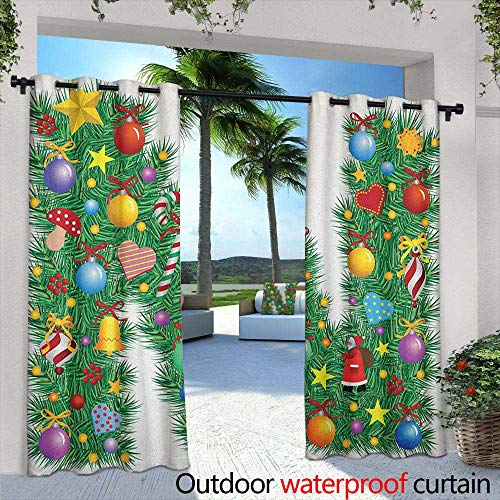 (Letter N Curtains for Living Room Capital N in Green Color with Coniferous Leaves Bells Bowknots Hearts and Stars Curtains for Living Room 72