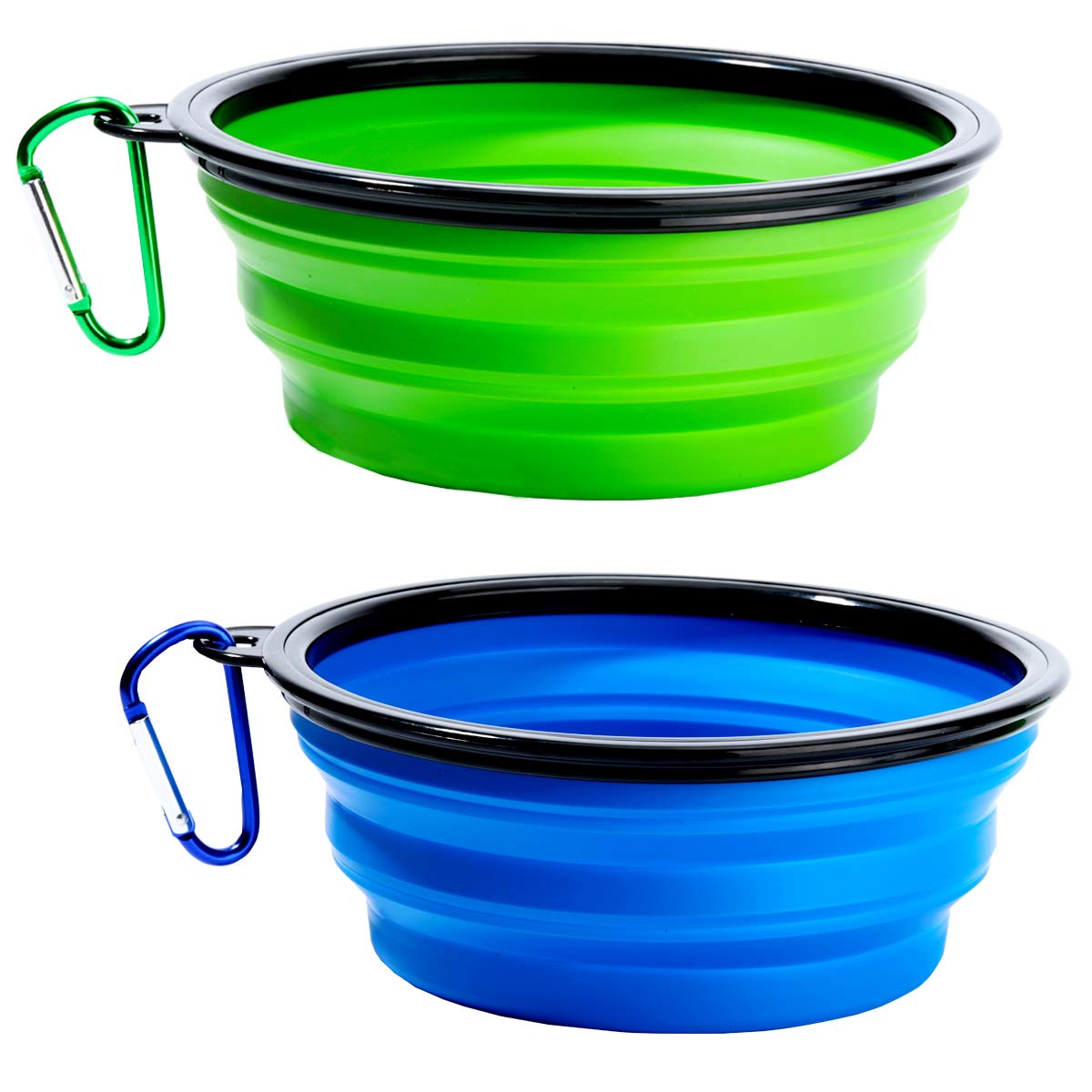 Collapsible Dog Bowl 2 Pack Collapsable Pet Water Bowls for Cats Dogs Food Grade Silicone Dog Dishes Portable Pet Feeding Watering Dish for Walking Parking Traveling Include 2 Carabiners