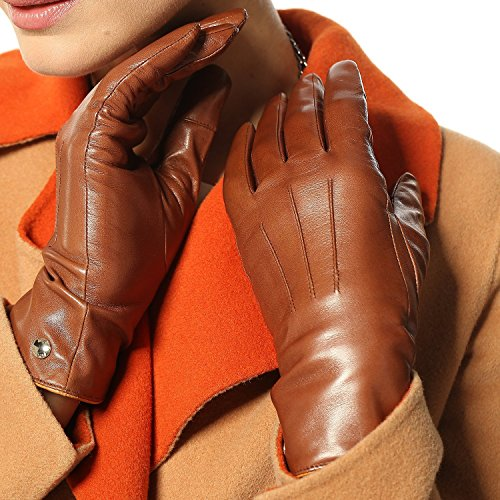 Elma Women's Touch Screen Italian Nappa Leather Winter Texting Gloves Pure Cashmere Warm Lining (6.5, Saddle yellow)