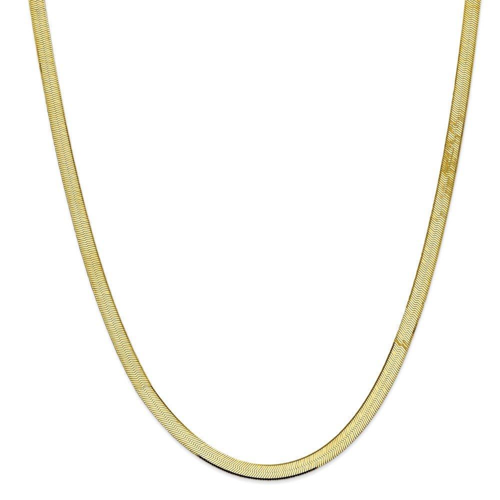Royローズジュエリー10 Kイエローゴールド5.5 MM絹のようなヘリンボーンチェーン~長: 30インチ B076P2KD79