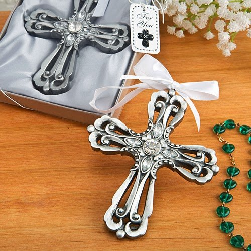 60 Silver Cross Ornament with Antique Finish from Fashioncraft
