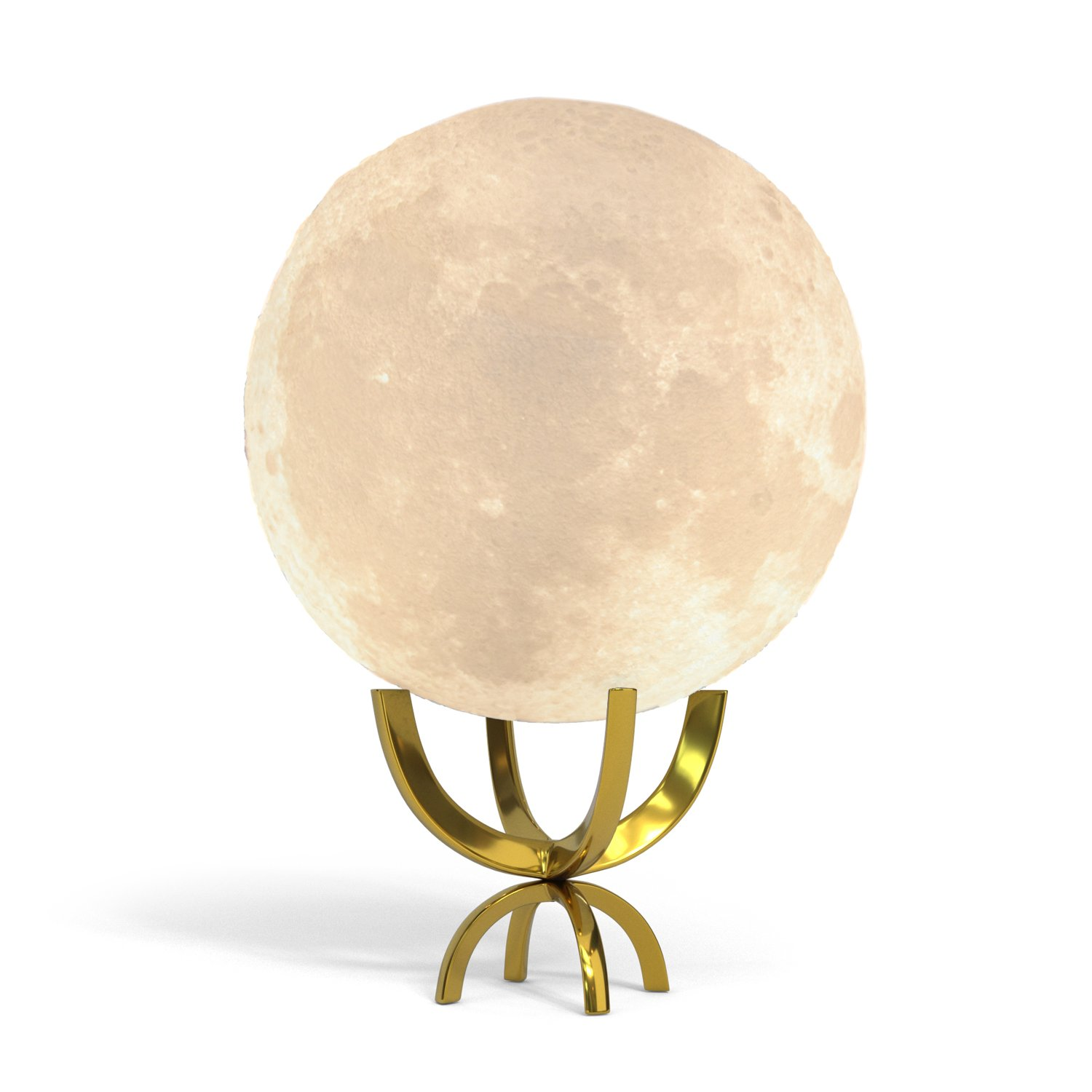 Moon Lamp 3d Printing LED Night Light With Elegant Metal Stand, Decorative Lunar Light, Unique Baby Shower Gift or Gift for Kids, (12cm)4.7in Moon, Touch Control and Rechargeable by lil hoots (Gold)