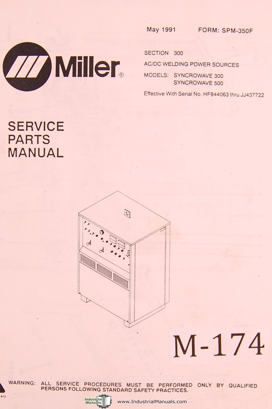 Miller Syncrowave 300 & 500, AC/DC Welding Power Sources, Service Parts  Manual: Miller: Amazon.com: Books