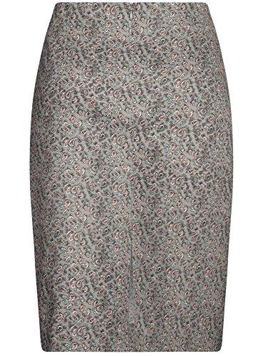 oodji Collection Mujer Falda Recta Básica Gris (2340E)