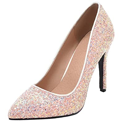 UH Damen High Heels Spitz Glitzer Stiletto Pumps mit Pailletten Party Hochzeit Schuhe