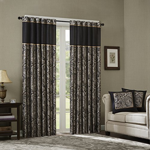 Aubrey Jacquard Panel Pair Black 108