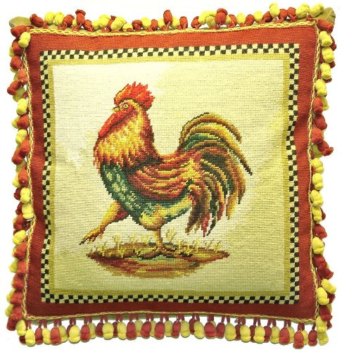 - Deluxe Pillows Strutting Rooster - 21 x 21 in. needlepoint pillow