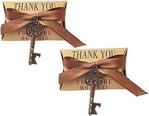 50pcs Skeleton Key Bottle Opener Wedding Party Favor Souvenir Gift Set Candy Box and Ribbon(Copper Keys)