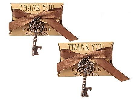 50pcs Skeleton Key Bottle Opener Wedding Party Favor Souvenir Gift Set Candy Box and Ribbon Copper Keys