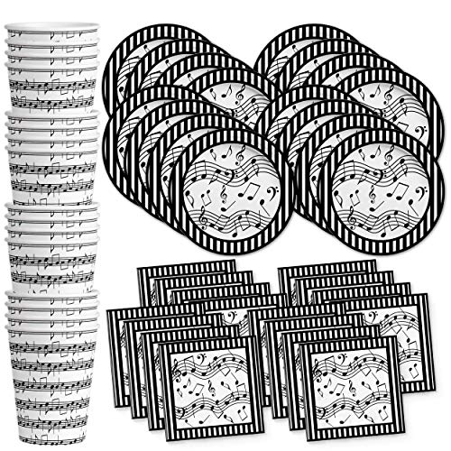 Music Notes Birthday Party Supplies Set Plates Napkins Cups Tableware Kit for 16 -