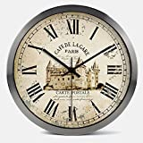 Janning Clocks Vintage timepieces,Clock Creative mute wall clock Living room modern clock Decorative wall charts-B 14inch Review