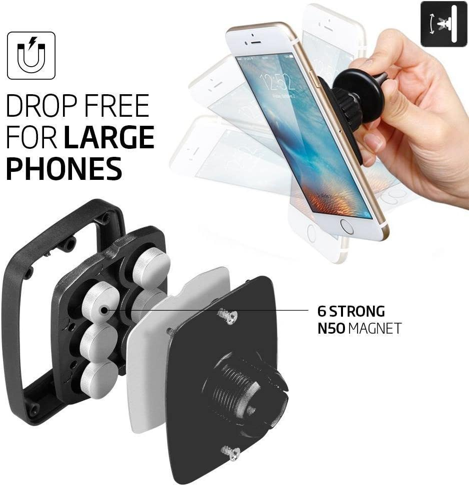 Hexa Core Magnet Phone Holder Air Vent Mount for iPhone 6s Plus Galaxy S6 S7 Edge Note 4 5 LG G5 Magnetic Car Mount Universal Premium Air Vent Car Mount Holder for Large Phones