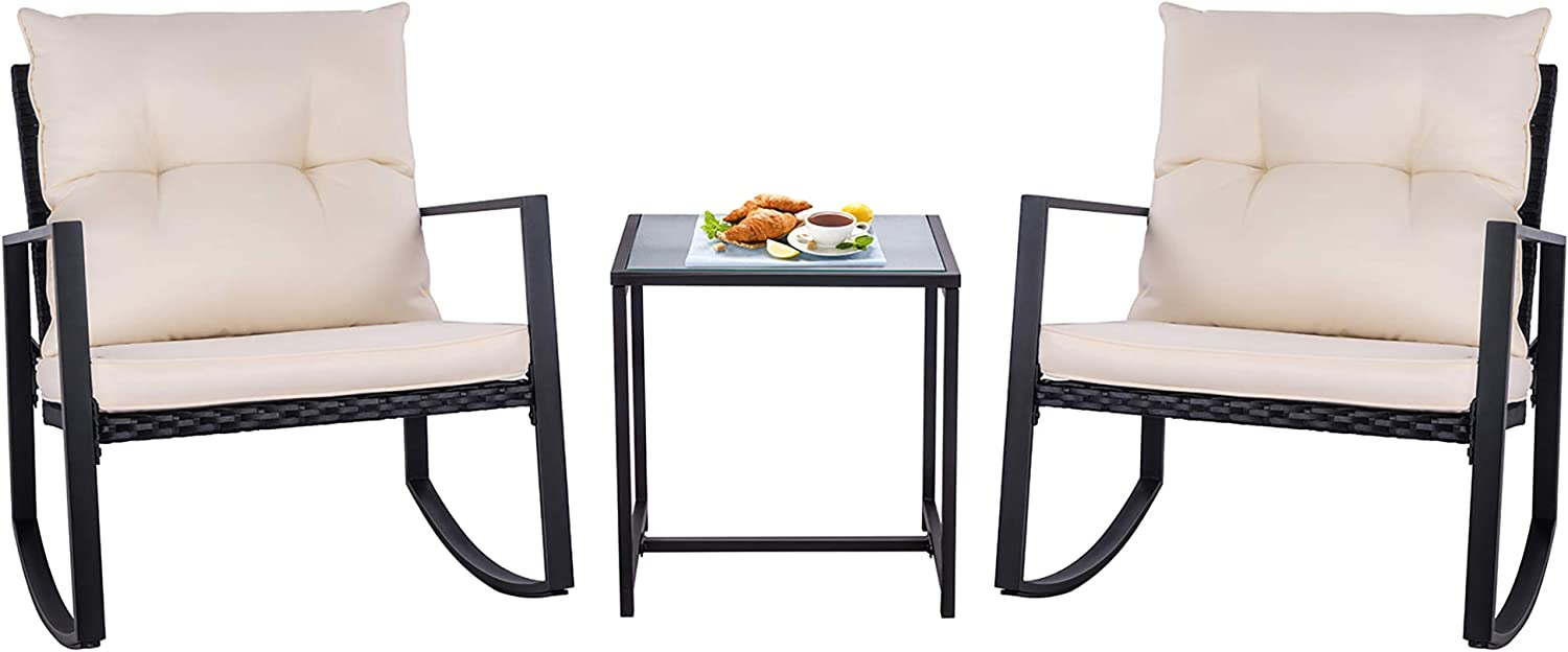 SUNLEI Outdoor 3-Piece Rocking Bistro Set Black Wicker Furniture-Two Chairs with Glass Coffee Table Beige Cushion