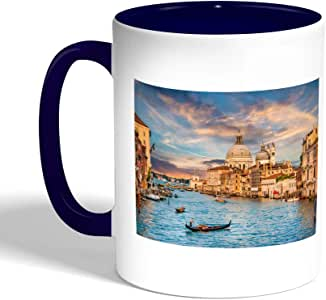 كوب سيراميك للقهوة بتصميم لوحة فنية - البندقية ، لون ازرق