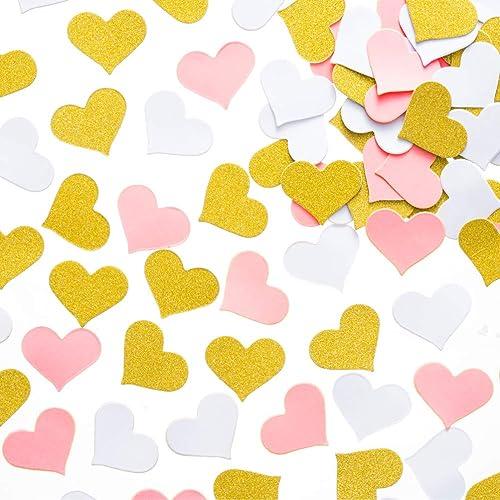 mowo glitter heart paper confetti wedding party decor and table decor 12 in