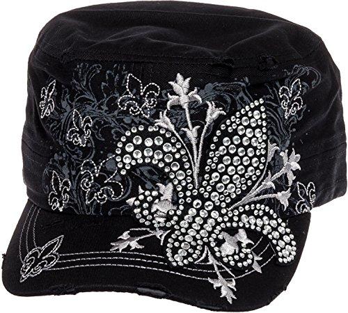 Cap Hat Cadet Baseball (Crystal Case Womens Cotton Rhinestone Fleur de Lis Cadet Cap Hat (Black))