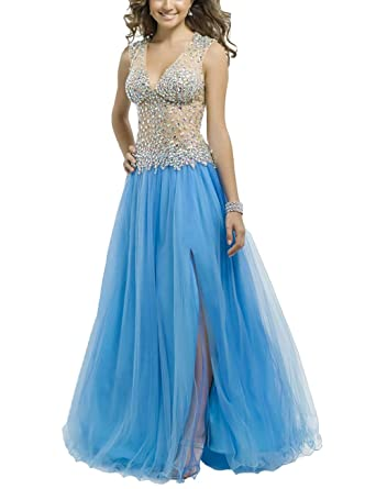 Mulanbridal Womens Jewelry V-Neck Beaded Tulle Prom Dress Long Evening Gowns For Party Blue
