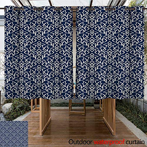 (RenteriaDecor Outdoor Curtains for Patio Sheer Kashmir blockprint Background W84 x L72)