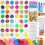 PP OPOUNT 65 Pack Making Kit Supplies for Slime Including Foam Balls, Fishbowl Beads, Glitter Jars, Luminous Stone, Fruit Slices, Containers, Tools for Slime Making Art DIY Craft(Not Contain Slime)