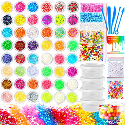 PP OPOUNT 65 Pack Making Kit Supplies for Slime Including Foam Balls, Fishbowl Beads, Glitter Jars, Luminous Stone, Fruit Slices, Containers, Tools for Slime Making Art DIY Craft(Not Contain Slime) by PP OPOUNT