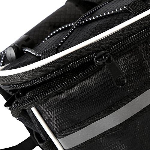 GkGk Front Top Tube Bike Bag, Multifunction Bicycle Frame Pannier Bags with Rainproof Cover for Mountain Ride,Road Cycling,Phones ,Bottle of Water ,Keys ,Wallet(Black)