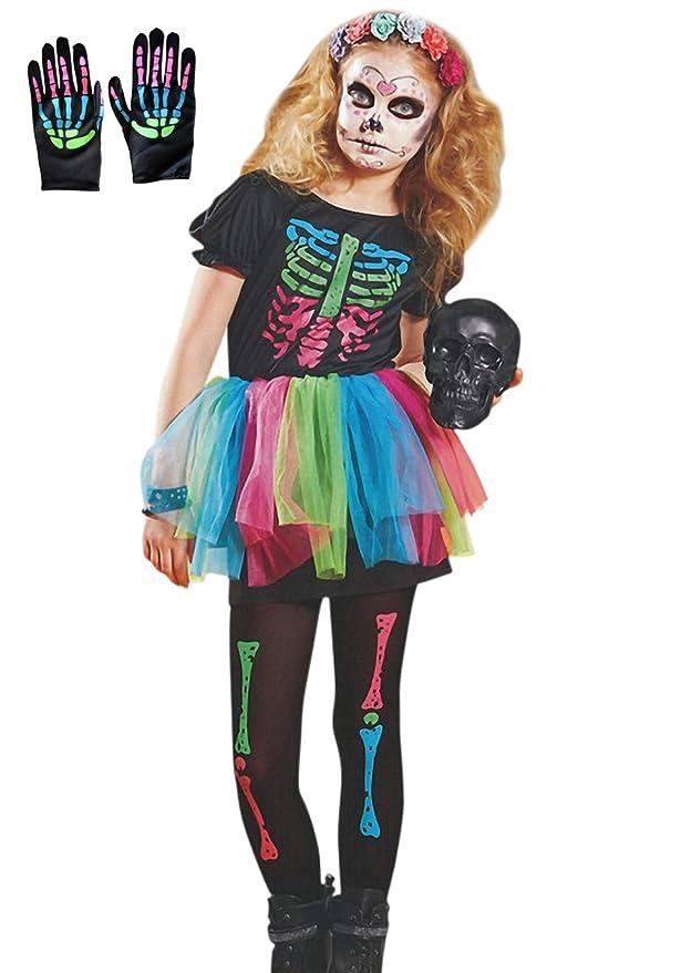 Lecoyeee Disfraz de Esqueleto Disfraz Día de los Muertos para ...