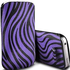 Fone-Case Samsung S7710 Galaxy Xcover 2 Protective Zebra PU Slip cuerda del tirón en la bolsa de la liberación rápida (Púrpura y Negro)