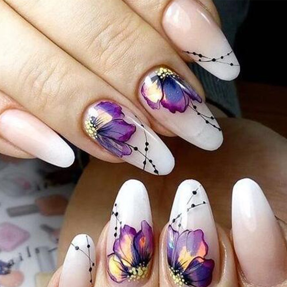 Amazon.com: 10pcs Nail Sticker Butterfly Flower Water Transfer Decal ...