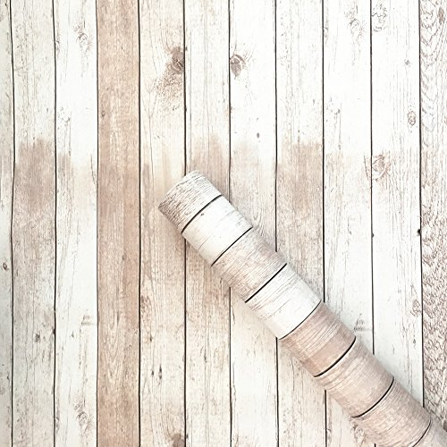Install Granite Tile Wall (Moyishi Peel & Stick Backsplash Vintage White Wood Panel Pattern Contact Paper Self-adhesive Removable Wallpaper 24''x79'')